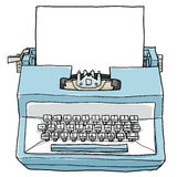 blue-typewriter-vintage-toy-paper-cute-hand-drawn-art-illus-illustration-74848707
